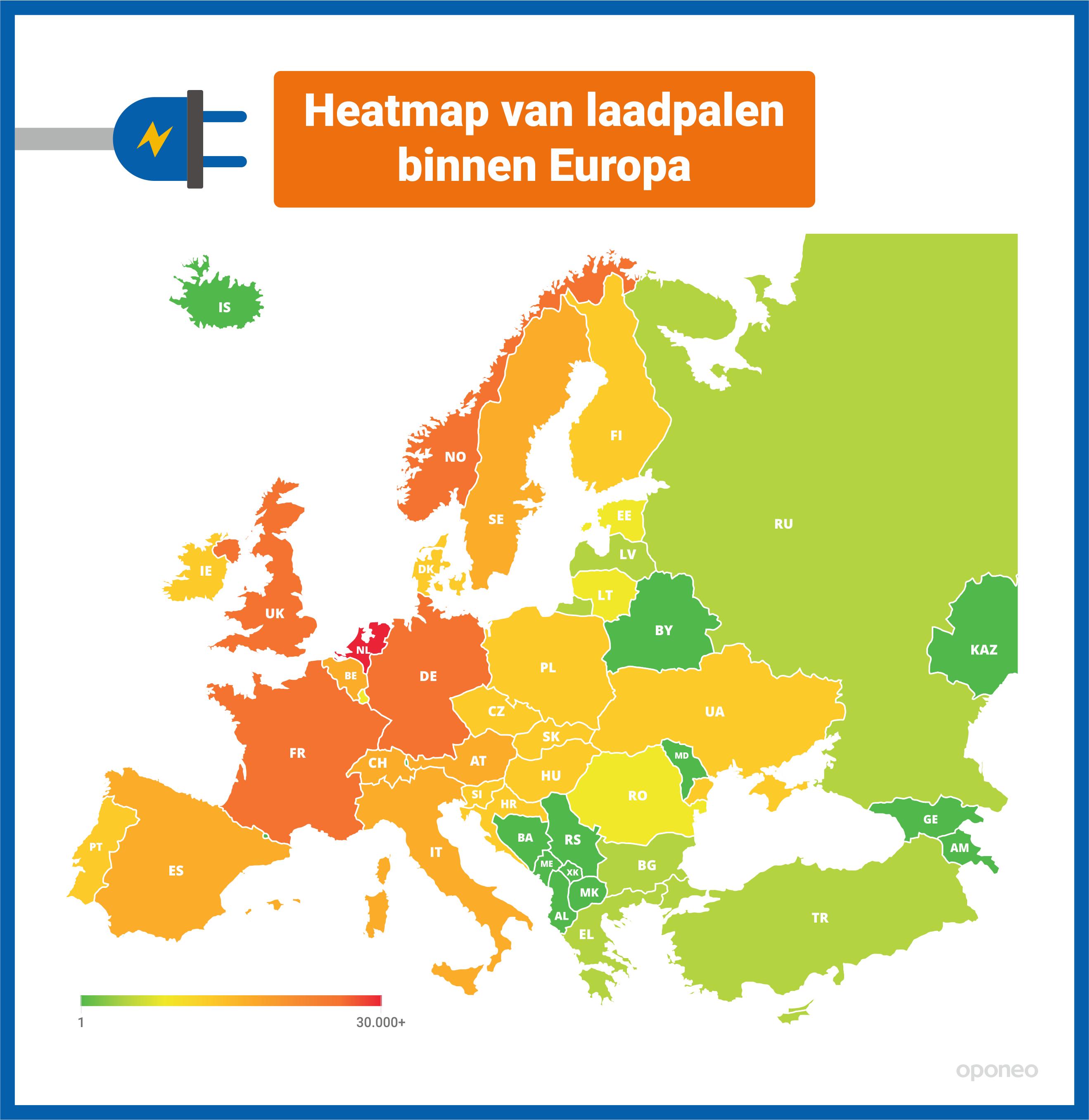 infographic heatmap van laadpalen binnen Europa